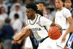 Georgia Tech guard Bubba Parham (11) works in the first half of an NCAA college basketball game against Duke Wednesday, Jan. 8, 2020, in Atlanta. (AP Photo/John Bazemore)