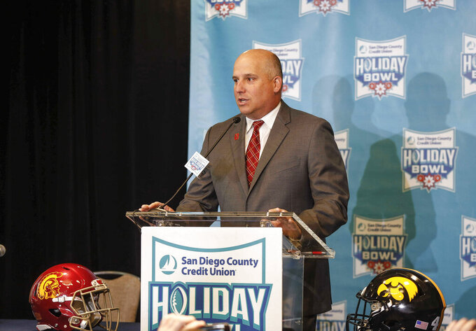 Southern California head football coach Clay Helton speaks to members of the media about the 2019 Holiday Bowl during a press conference on Thursday, Dec. 26, 2019, in San Diego, Calif. (Bryon Houlgrave/The Des Moines Register via AP)