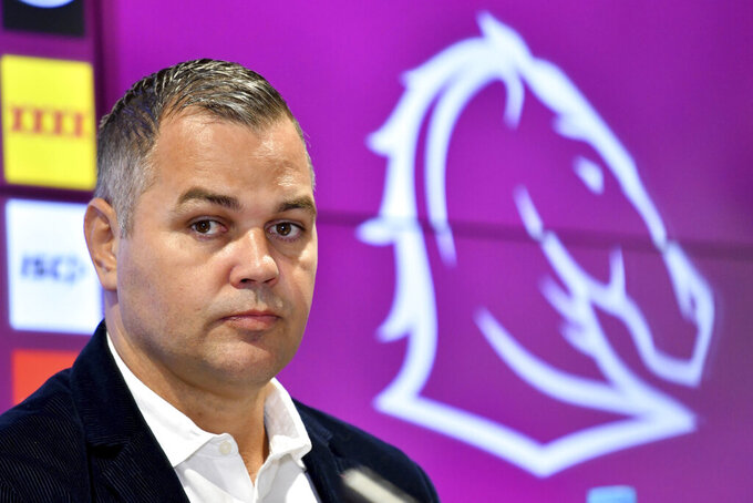 Brisbane Broncos rugby league coach Anthony Seibold attends a media conference in Brisbane, Australia, Wednesday, Aug. 26, 2020. Embattled Seibold quit as head coach of the Broncos after one of the most disastrous seasons in the history of the powerful club. (Darren England/AAP Image via AP)