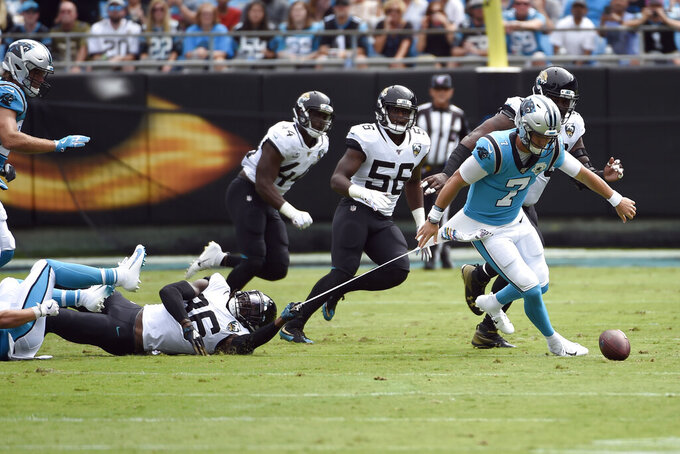 Jacksonville Jaguars defensive back Ronnie Harrison (36) grabs Carolina Panthers quarterback Kyle Allen (7) during the first half of an NFL football game in Charlotte, N.C., Sunday, Oct. 6, 2019. (AP Photo/Mike McCarn)