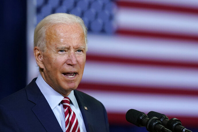 Democratic presidential candidate former Vice President Joe Biden speaks before participating in a roundtable discussion with veterans, Tuesday, Sept. 15, 2020, at Hillsborough Community College in Tampa, Fla. (AP Photo/Patrick Semansky)