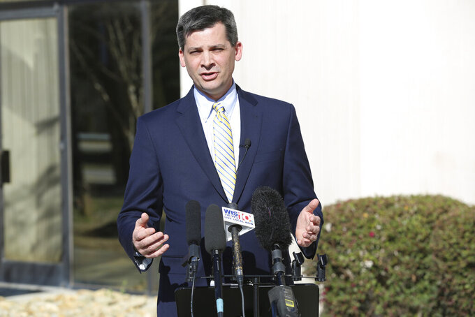 South Carolina Senate Majority Leader Shane Massey, R-Edgefield, talks about his proposal to sell two state-owned airplanes on Friday, March 5, 2021, in West Columbia, S.C. Massey said he has never been on the state plane and thinks selling them is the only way to prevent lawmakers from using them for improper trips. (AP Photo/Jeffrey Collins)