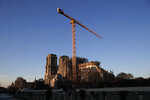 Notre Dame cathedral is pictured in Paris, Monday, Jan. 6, 2020. Gen. Jean-Louis Georgelin who is overseeing the reconstruction of the fire-devastated Notre Dame Cathedral told French broadcaster CNews on Sunday that