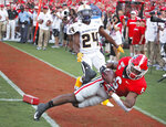 Georgia running back Kenny McIntosh (6) goes into the end zone after a long run, but was ruled out of bounds before scoring, in the second half against Murray State in an NCAA college football game Saturday, Sept. 7, 2019, in Athens, Ga. (Bob Andres/Atlanta Journal Constitution via AP)