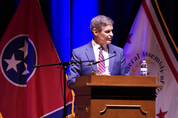 Tennessee Gov. Bill Lee speaks to a joint session of the legislature at the start of a special session on education, Tuesday, Jan. 19, 2021, in Nashville, Tenn. (AP Photo/Mark Humphrey)