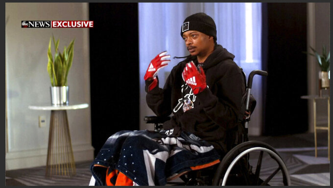FILE - In this image taken from video provided by ABC, Jacob Blake speaks during an interview broadcast on ABC News' Good Morning America on Thursday, Jan. 14, 2021. Blake, who was shot in the back by a white police officer and left paralyzed from the waist down expects to be walking soon, an accomplishment he says is tempered by fears of it happening again. (ABC News/Good Morning America via AP, file)