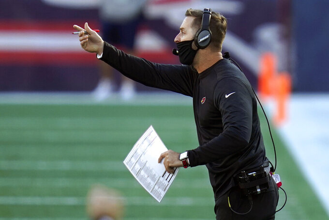 Arizona Cardinals head coach Kliff Kingsbury shouts instructions from the sideline in the first half of an NFL football game against the New England Patriots, Sunday, Nov. 29, 2020, in Foxborough, Mass. (AP Photo/Charles Krupa)