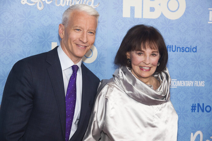 FILE - In this April 4, 2016 file photo, CNN anchor Anderson Cooper and Gloria Vanderbilt attend the premiere of