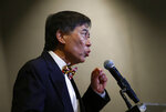 University of Maryland president Wallace Loh speaks at a news conference held to address the school's football program and the death of  offensive lineman Jordan McNair, who collapsed on a practice field and subsequently died, in College Park, Md.  (AP Photo/Patrick Semansky)