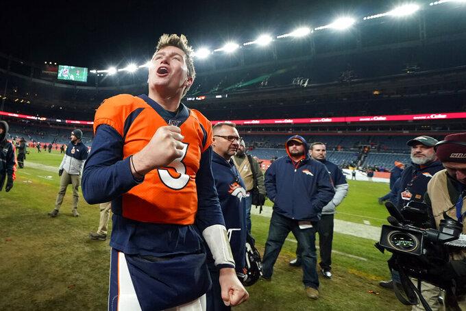 Denver Broncos quarterback Drew Lock reacts after an NFL football game against the Oakland Raiders, Sunday, Dec. 29, 2019, in Denver. (AP Photo/Jack Dempsey)