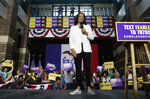 Democratic presidential candidate Sen. Kamala Harris, D-Calif., speaks at a rally Monday, Aug. 12, 2019, in Davenport, Iowa. (AP Photo/John Locher)