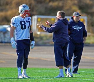 Patriots Gronkowski Practice Football