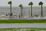 People check out the waves on Lakeshore Drive in New Orleans, Friday, July 12, 2019, as water moves in from Lake Pontchartrain from the storm surge from Tropical Storm Barry in the Gulf of Mexico. The area is behind a levee that protects the rest of the city. Barry could harm the Gulf Coast environment in a number of ways. But scientists say it's hard to predict how severe the damage will be. (AP Photo/Matthew Hinton)