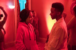 This image released by 20th Century Fox shows Amandla Stenberg, left, and Algee Smith in a scene from