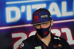Red Bull driver Max Verstappen of the Netherlands attends a press conference ahead of Sunday's Italian Formula One Grand Prix, at the Monza racetrack, in Monza, Italy, Thursday, Sept. 9, 2021. (AP Photo/Luca Bruno, Pool)