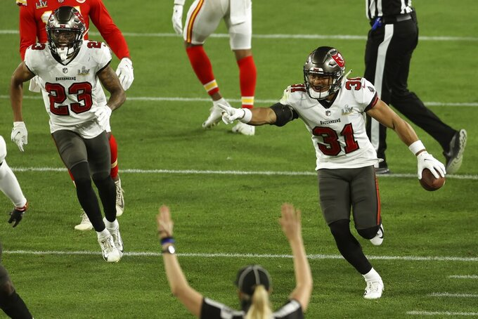 Tampa Bay Buccaneers' Antoine Winfield Jr. (31) celebrates an interception during the second half of the NFL Super Bowl 55 football game against the Kansas City Chiefs Sunday, Feb. 7, 2021, in Tampa, Fla. (AP Photo/Mark LoMoglio)