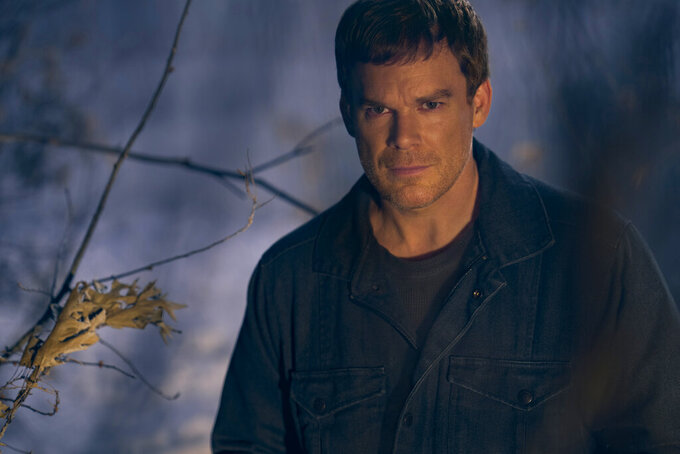 """This image released by Showtime shows Michael C. Hall from the series """"Dexter: New Blood,"""" premiering on Nov. 7. (Kurt Iswarienko/Showtime via AP)"""