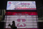 A woman walks past a bank's electronic board showing the Hong Kong share index at Hong Kong Stock Exchange in Hong Kong Monday, Sept. 20, 2021. Shares fell more than 3% in Hong Kong on Monday in holiday-thinned trading in Asia, with both Tokyo and Shanghai closed. (AP Photo/Vincent Yu)