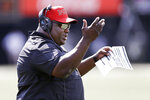 Northern Illinois head coach Thomas Hammock calls out to his players in the second half of an NCAA college football game against Vanderbilt Saturday, Sept. 28, 2019, in Nashville, Tenn. Vanderbilt won 24-18. (AP Photo/Mark Humphrey)