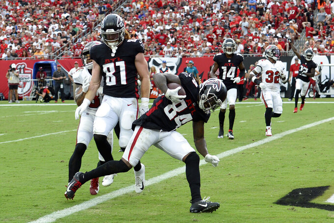 Atlanta Falcons running back Cordarrelle Patterson (84) scores on a 7-yard touchdown reception against the Tampa Bay Buccaneers during the second half of an NFL football game Sunday, Sept. 19, 2021, in Tampa, Fla. (AP Photo/Jason Behnken)