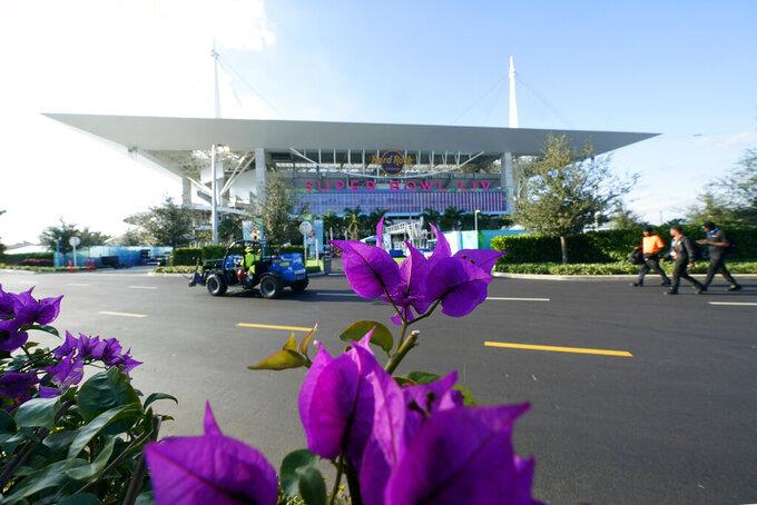 Hard Rock Stadium is shown Thursday, Jan. 30, 2020, in Miami Gardens, Fla., in preparation for the NFL Super Bowl 54 football game. (AP Photo/David J. Phillip)