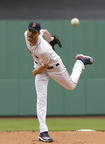 Boston Red Sox's Chris Sale delivers a pitch against the Tampa Bay Rays during the first inning of a baseball game at Fenway Park, Sunday, April 28, 2019, in Boston. (AP Photo/Steven Senne)