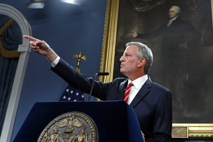 New York Mayor Bill de Blasio speaks at City Hall, Monday, Aug. 19, 2019. After five years of investigations and protests, the New York City Police Department on Monday fired NYPD officer Daniel Pantaleo, involved in the 2014 chokehold death of Eric Garner, whose dying cries of