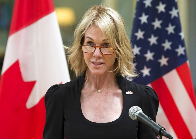 FILE - In this Oct. 23, 2017, file photo, United States Ambassador to Canada Kelly Knight Craft speaks after presenting her credentials during a ceremony at Rideau Hall in Ottawa. (Adrian Wyld/The Canadian Press via AP)