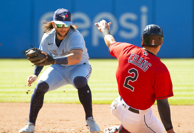 Toronto Blue Jays' Bo Bichette, left, forces Cleveland Indians' Yu Chang, right, out at second base to complete a double play during the third inning of the second baseball game of a doubleheader in Cleveland, Sunday, May 30, 2021. (AP Photo/Phil Long)