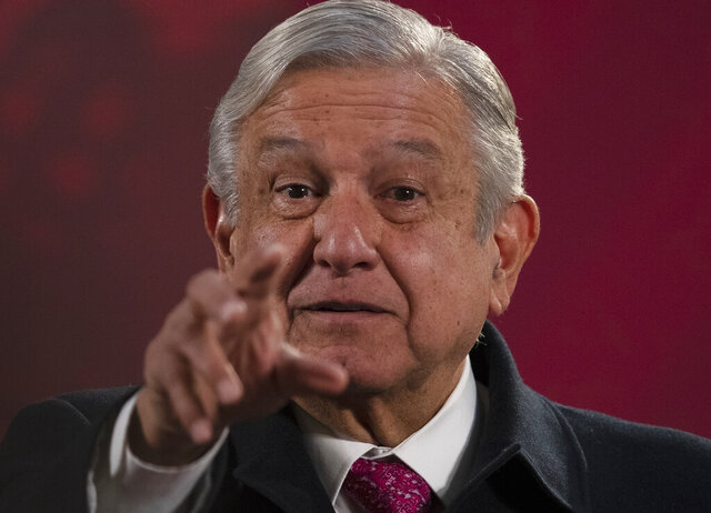 Mexican President Andres Manuel Lopez Obrador gives his regularly scheduled morning press conference known as