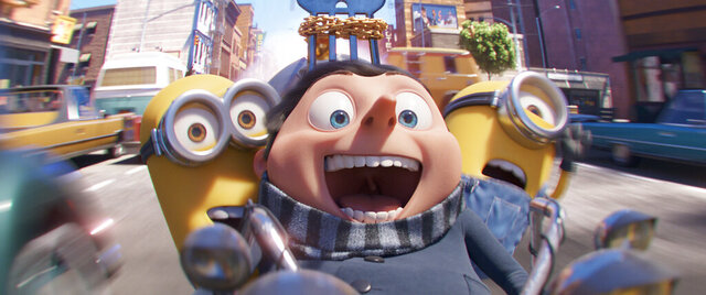 This image released by Illumination Entertainment and Universal Pictures shows characters, from left, Kevin, Gru, voiced by Steve Carell and Stuart in a scene from