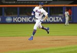 New York Mets' Brandon Nimmo runs the bases after hitting a three-run home run during the 10th inning of a baseball game against the Philadelphia Phillies on Wednesday, July 11, 2018, in New York. The Mets won 3-0. (AP Photo/Frank Franklin II)