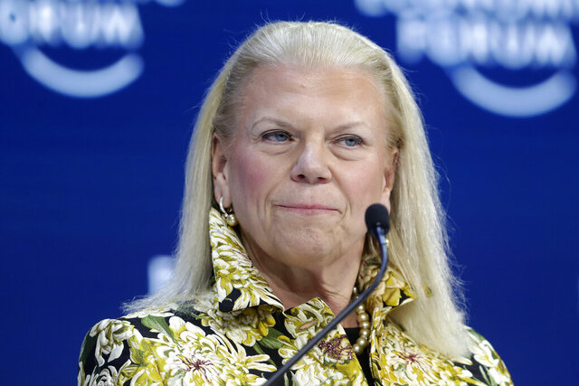 FILE - In this Tuesday, Jan. 21, 2020 file photo, Ginni Rometty, President and CEO of IBM, attends a panel discussion at the World Economic Forum in Davos, Switzerland. Ginni Rometty is stepping down after nearly 40 years with the computing giant and eight years at its helm. The company said Thursday, Jan. 30, 2020 that Arvind Krishna will take over as CEO starting April 6 . (AP Photo/Michael Probst)
