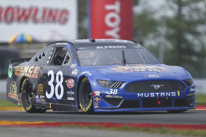 Anthony Alfredo drives through the Bus Stop during a NASCAR Cup Series auto race in Watkins Glen, N.Y., on Sunday, Aug. 8, 2021. (AP Photo/Joshua Bessex)