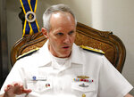 U.S. Vice-Adm. Phillip Sawyer, commander of the U.S. Navy's Seventh Fleet, gestures during an interview with a select group of journalists aboard the USS Blue Ridge, the U.S. 7th Fleet Flagship, while docked at Manila South Harbor in Manila, Philippines Monday, March 18, 2019. Sawyer told reporters in Manila Monday that Washington protested that