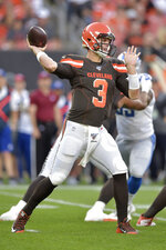 Cleveland Browns quarterback Garrett Gilbert throws during the first half of the team's NFL preseason football game against the Detroit Lions, Thursday, Aug. 29, 2019, in Cleveland. (AP Photo/David Richard)