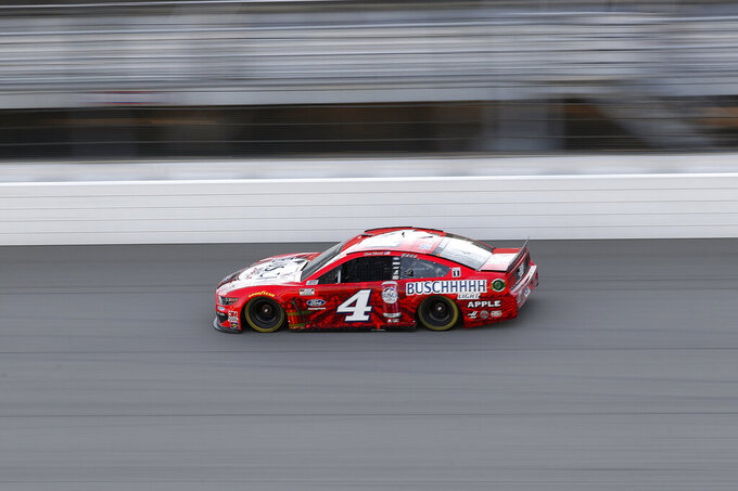 Kevin Harvick drives during the NASCAR Cup Series auto race at Michigan International Speedway in Brooklyn, Mich., Saturday, Aug. 8, 2020. (AP Photo/Paul Sancya)