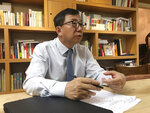 In this Aug. 13, 2019, photo, Lee Won-deok, an expert on Japan at Seoul's Kookmin University, speaks during an interview in Seoul, South Korea. There's now worry that continuing bad relations with Japan will hurt the South's economy and ruin bilateral security cooperation over nuclear North Korea and China's growing influence, said Lee. (AP Photo/Chang Yong Jun)