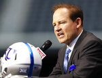 Kansas head coach Les Miles speaks on the first day of Big 12 Conference NCAA college football media days Monday, July 15, 2019, at AT&T Stadium in Arlington, Texas. This is Miles' first season at Kansas. (AP Photo/David Kent)
