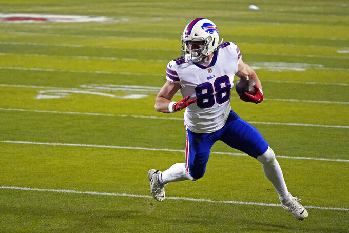 Buffalo Bills tight end Dawson Knox catches a 3-yard touchdown pass during the first half of the AFC championship NFL football game against the Kansas City Chiefs, Sunday, Jan. 24, 2021, in Kansas City, Mo. (AP Photo/Jeff Roberson)