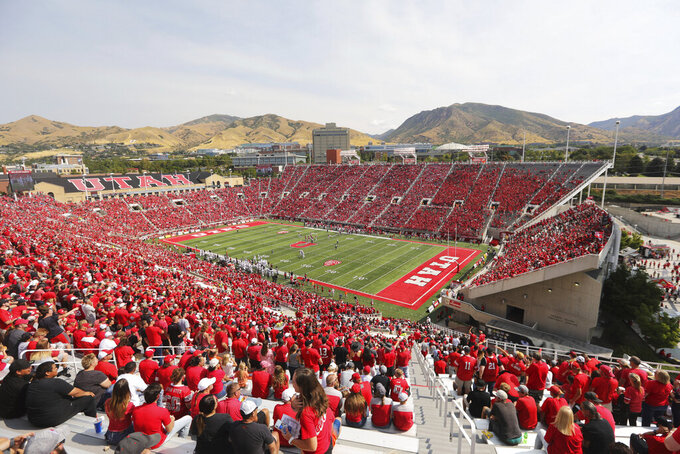 Utah's Rice-Eccles Stadium is shown in the first half of an NCAA college football game between Northern Illinois and Utah Saturday, Sept. 9, 2019, Salt Lake City. (AP Photo/Rick Bowmer)