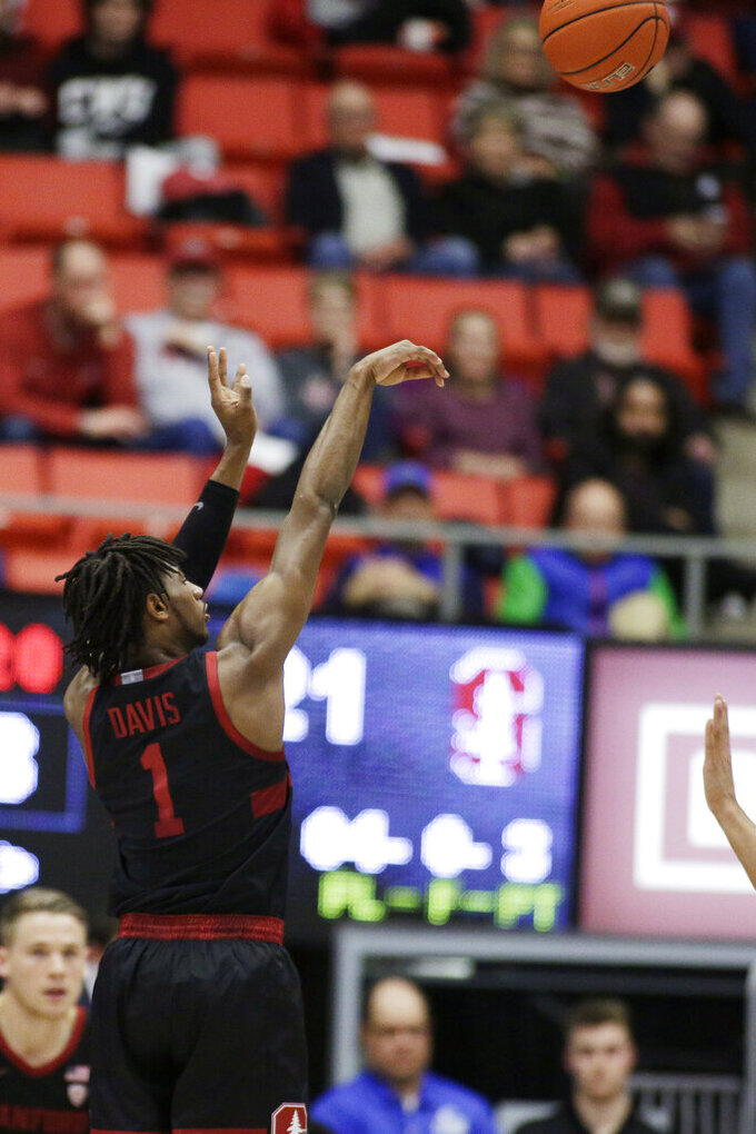Stanford guard Daejon Davis (1) shoots during the first half of an NCAA college basketball game against Washington State in Pullman, Wash., Sunday, Feb. 23, 2020. (AP Photo/Young Kwak)
