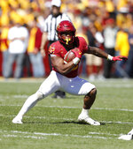FILE - In this Saturday, Sept. 22, 2018 file photo, Iowa State running back David Montgomery runs up field during the first half of an NCAA college football game against Akron, in Ames, Iowa. This season, four Big 12 backs are averaging at least 100 yards rushing per game in conference action. (AP Photo/Charlie Neibergall, File)