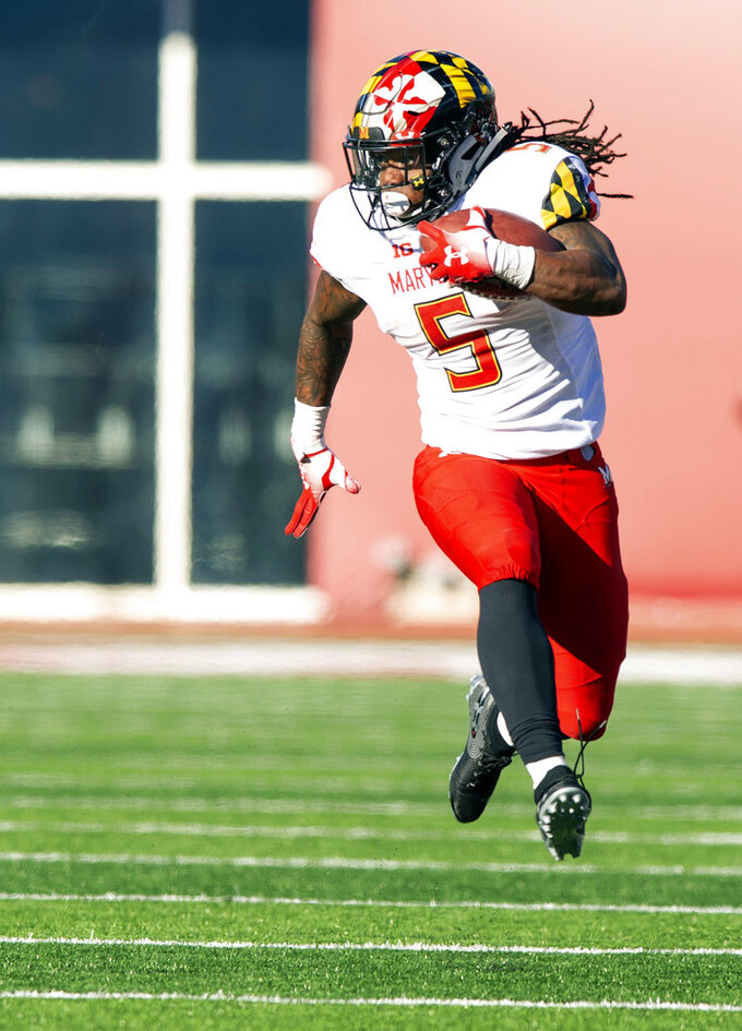 Maryland running back Anthony McFarland (5) rushes the ball up the sideline during the second half of an NCAA college football game against Indiana, Saturday, Nov. 10, 2018, in Bloomington, Ind. Indiana won 34-32. (AP Photo/Doug McSchooler)