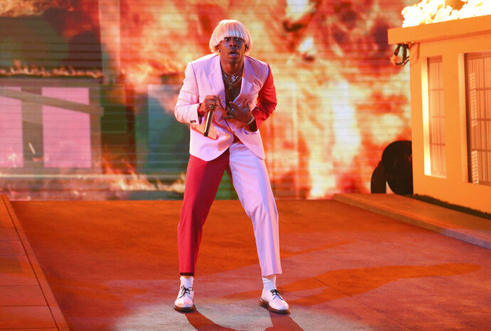 Tyler, the Creator performs at the 62nd annual Grammy Awards on Sunday, Jan. 26, 2020, in Los Angeles. (Photo by Matt Sayles/Invision/AP)