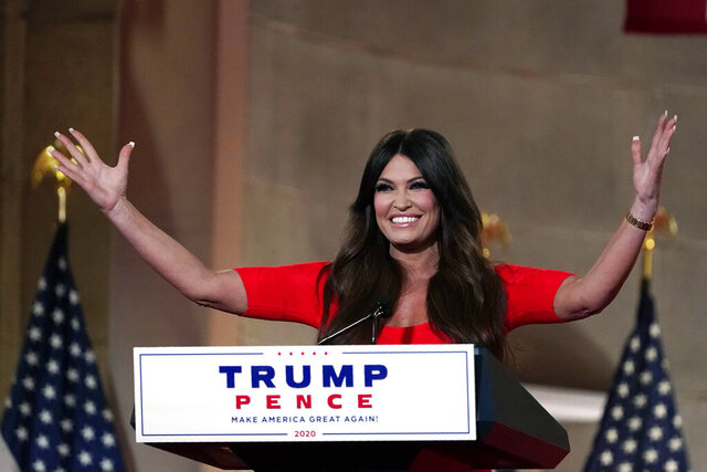 Kimberly Guilfoyle speaks as she tapes her speech for the first day of the Republican National Convention from the Andrew W. Mellon Auditorium in Washington, Monday, Aug. 24, 2020. (AP Photo/Susan Walsh)