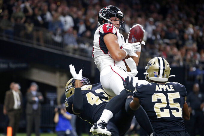 in the first half of an NFL football game in New Orleans, Sunday, Nov. 10, 2019. (AP Photo/Butch Dill)