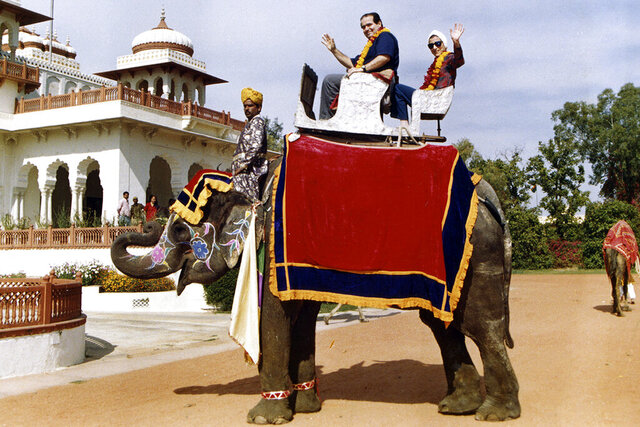 This image provided by the Supreme Court shows Supreme Court Justice Ruth Bader Ginsburg and Supreme Court Justice Antonin Scalia as they ride an elephant in Rajasthan, India, in 1994 . Ruth Bader Ginsburg died at her home in Washington, on Sept. 18, 2020, the Supreme Court announced. (Collection of the Supreme Court of the United States via AP)