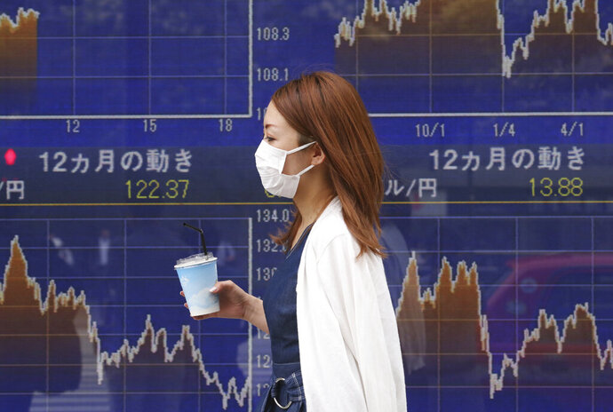 A woman walks by an electronic stock board of a securities firm in Tokyo, Tuesday, July 2, 2019. Most Asian stock markets have risen after Wall Street's benchmark hit a new high following the latest U.S.-Chinese trade truce. (AP Photo/Koji Sasahara)