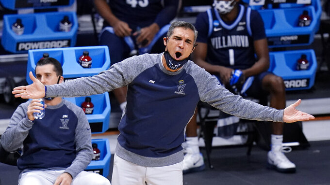 Villanova head coach Jay Wright argues a call against Baylor in the first half of a Sweet 16 game in the NCAA men's college basketball tournament at Hinkle Fieldhouse in Indianapolis, Saturday, March 27, 2021.(AP Photo/AJ Mast)